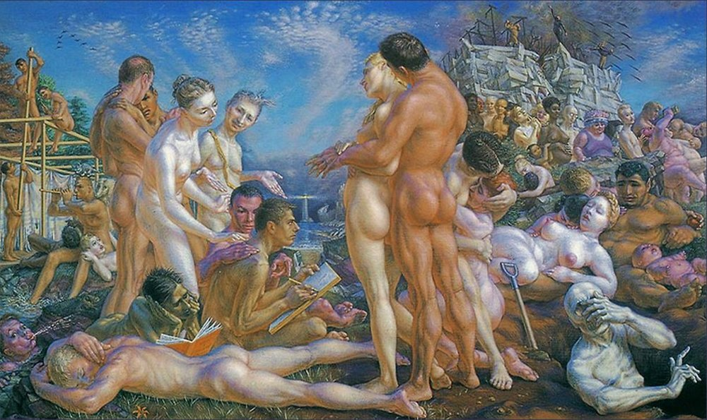 Queer painter Paul Cadmus's 'What I Believe,' named after one of Forster's essays of the same title. In the back, palm raised outward, is Forster himself.