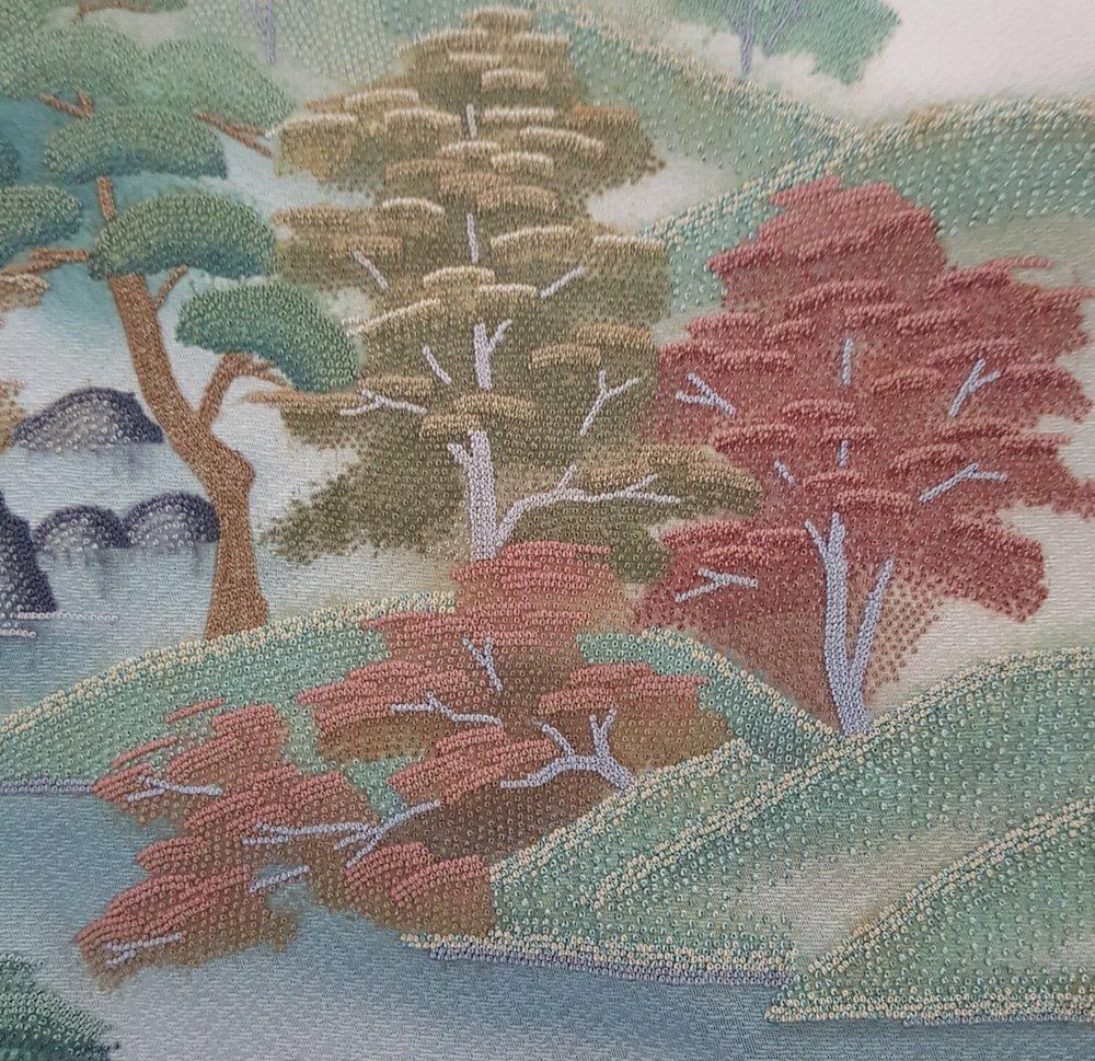 1133b Contemporary silk Homongi Kimono with Forrest design embroidered with Sagara work.jpg