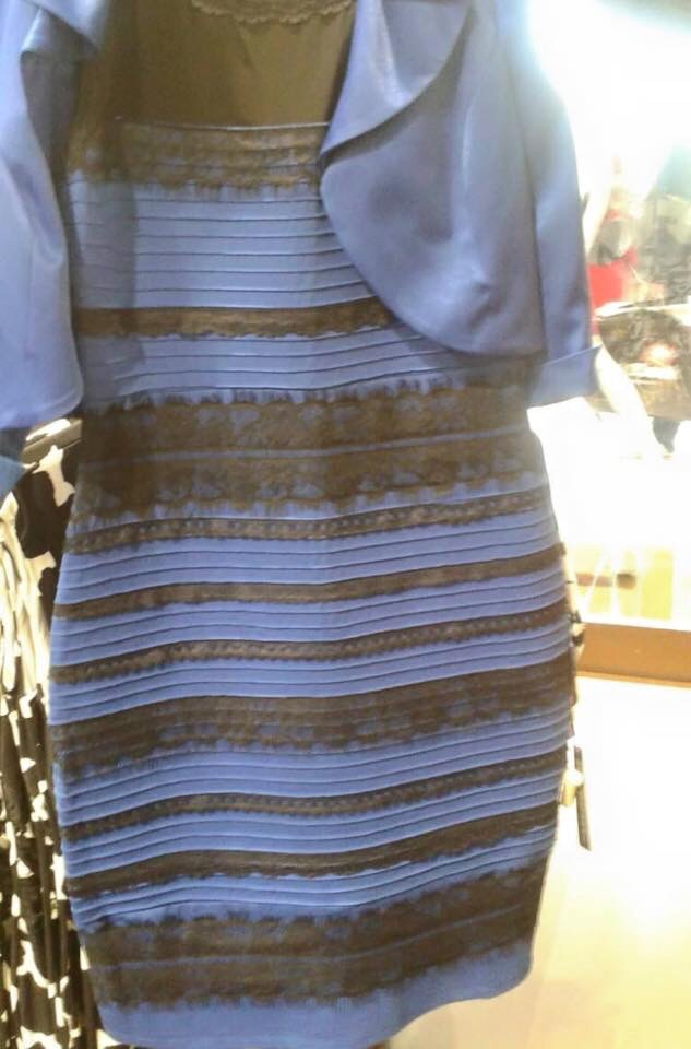 The #Dress as it circulated the Internet in 2015. What colours do you see?