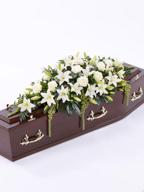 Casket sprays flowers of scotland all casket spray white rose lily mightylinksfo
