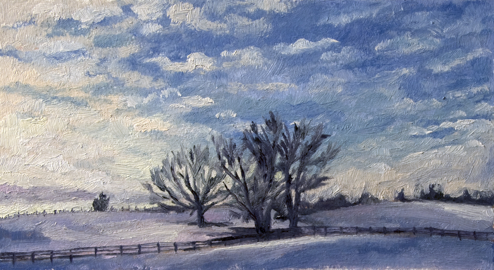 landscape painting of rural Virginia covered in snow