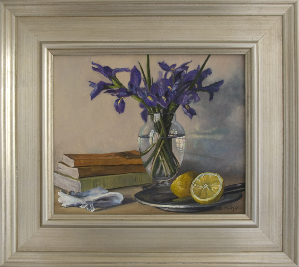 Still Life with a Cut Lemon on a Pewter Plate, books, and Irises
