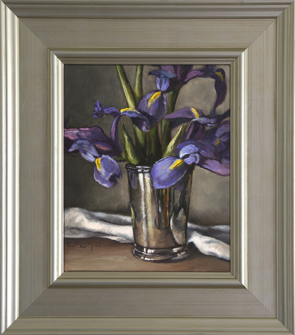 Still Life of Siberian Irises and Silver Cup - Framed