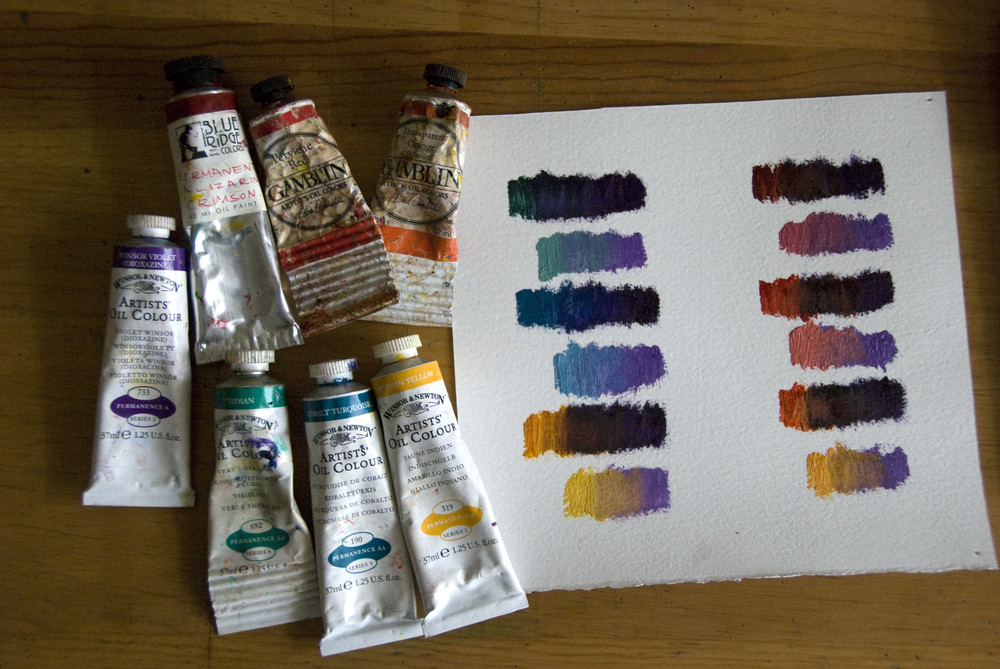 paint tubes and paint swatches