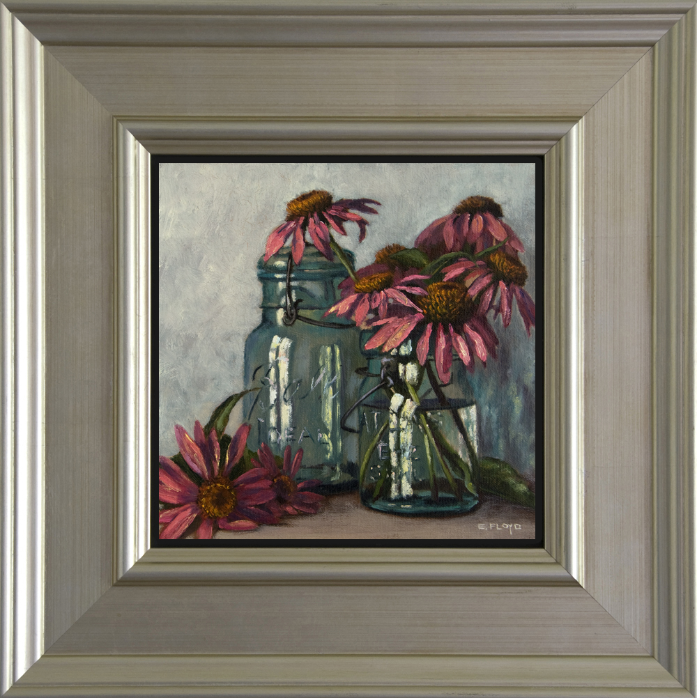 Echinacea and Ball Canning Jars - Framed