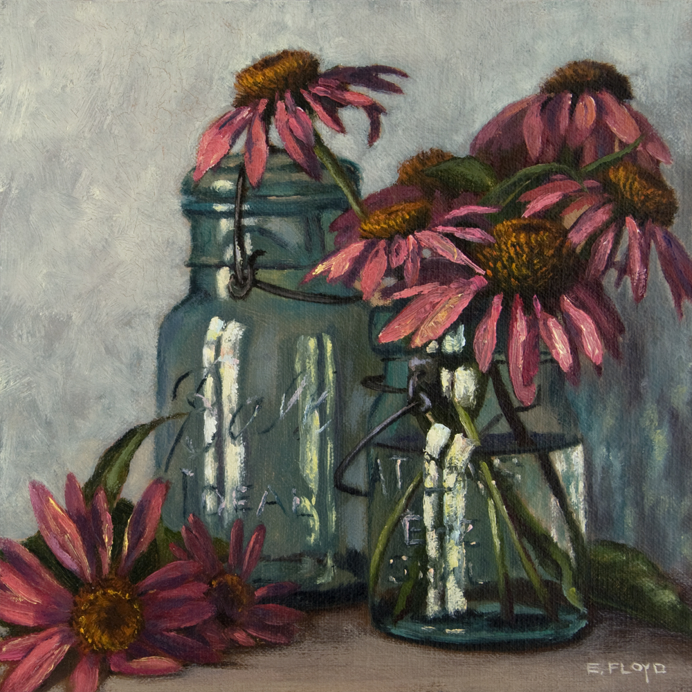 Echinacea and Ball Canning Jars