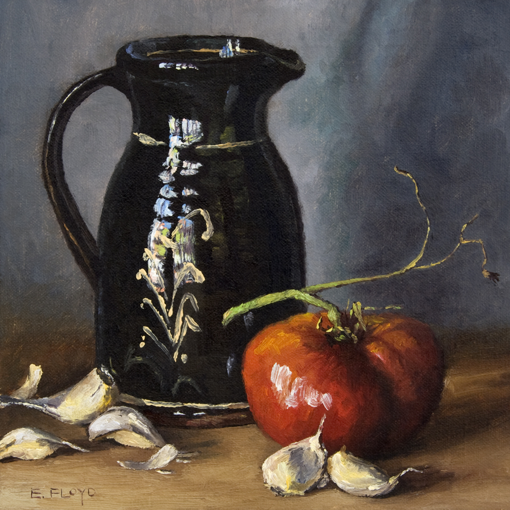 Still Life with Garlic, Tomato, and Redware Pitcher