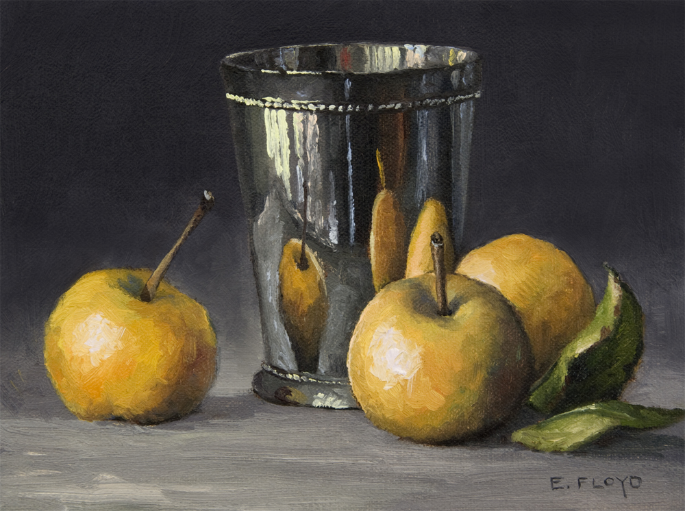 Still Life with Asian Pears and Silver Cup