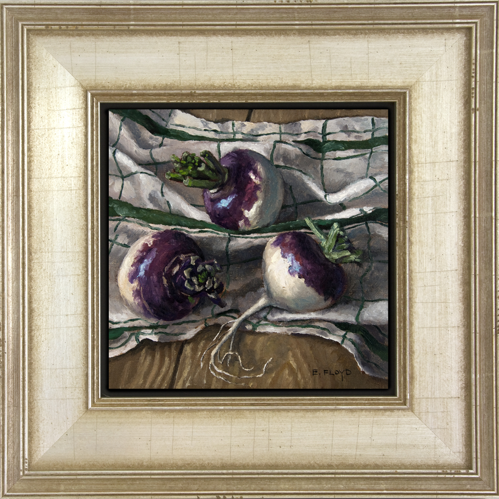 Still Life with Turnips and Dishcloth - framed