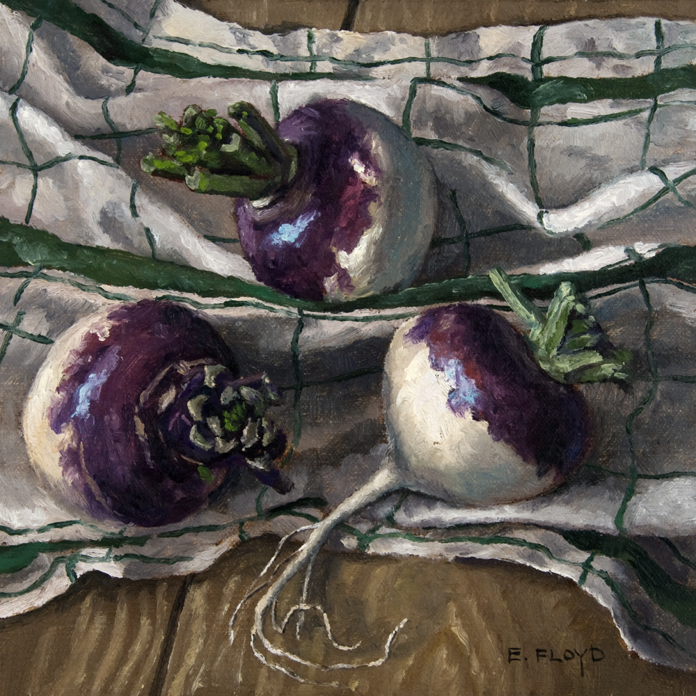 Still Life with Turnips and Linen Dishcloth