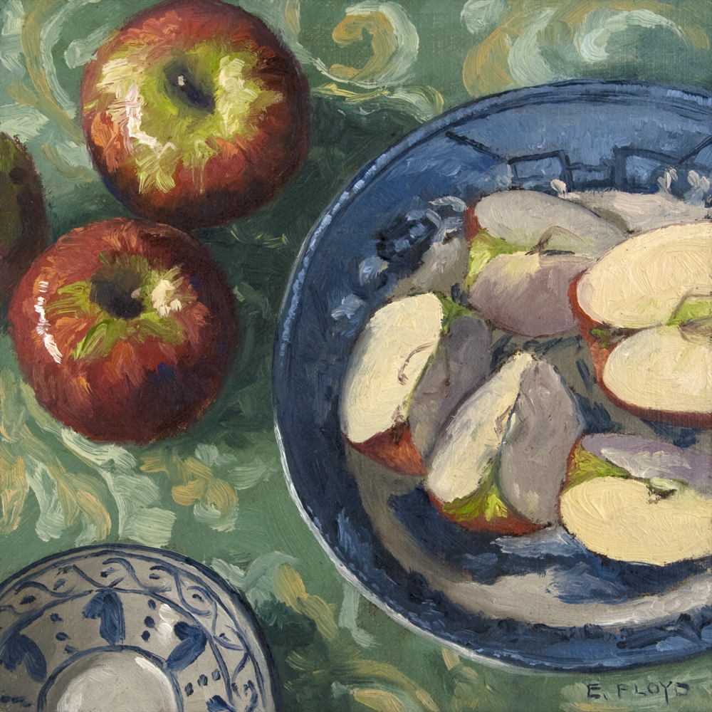 Apple Slices and Some Blue and White Ware