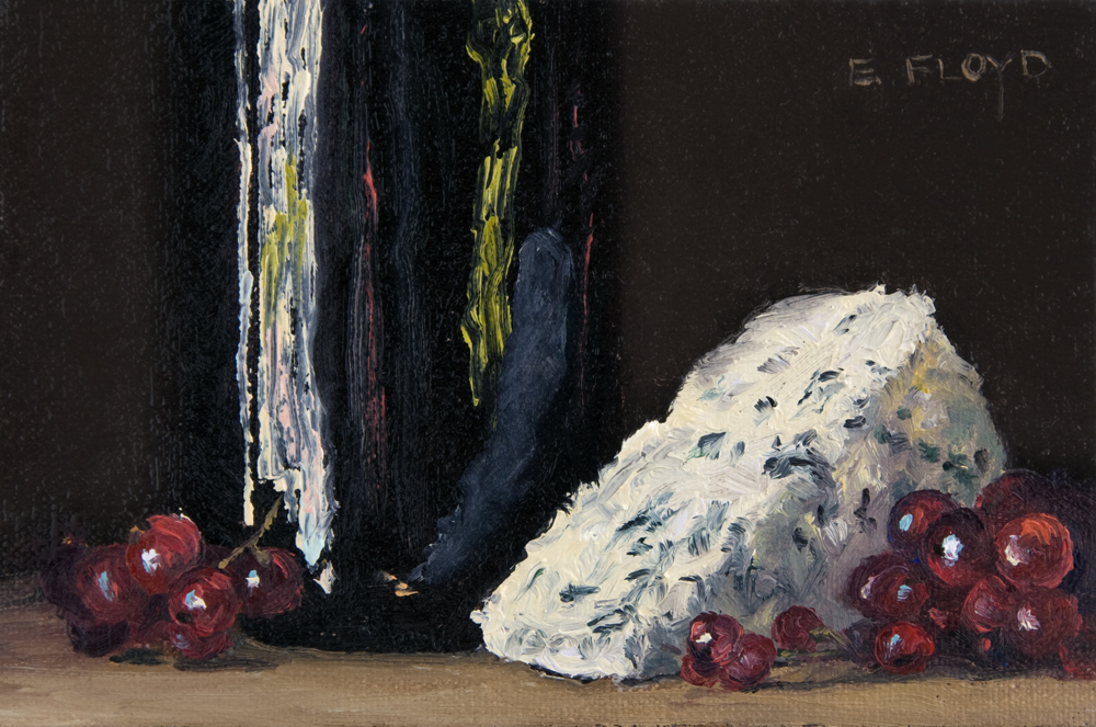 Still Life with Red Currants, Bleu Cheese, and Wine