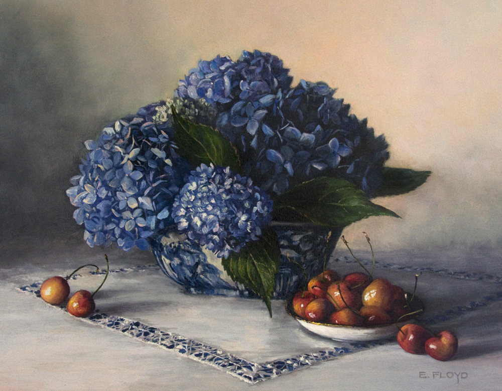 Still Life with Cherries and Hydrangeas