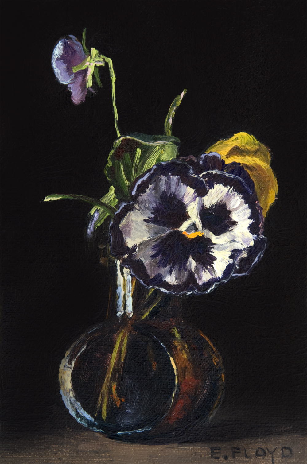 Pansies in Amber Bottle