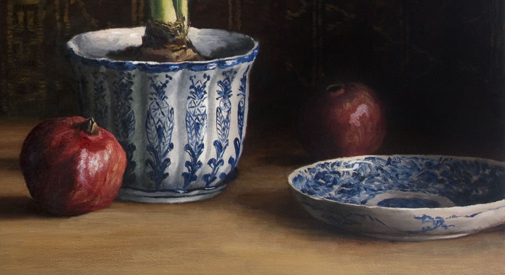 Still Life with Amaryllis and Pomegranates by Elizabeth Floyd, detail of 24 x 30 inches  - oil on linen