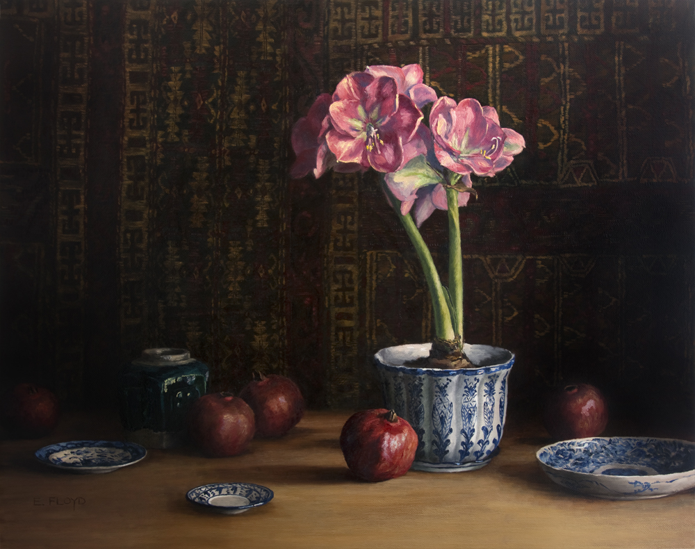 Still Life with Amaryllis and Pomegranates by Elizabeth Floyd, 24 x 30 inches  - oil on linen