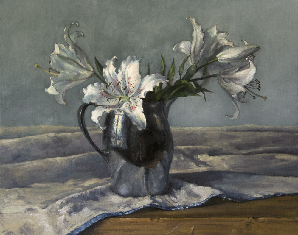Be Mine, Lilies Mine by Elizabeth Floyd, 16 x 20 inches, oil on linen