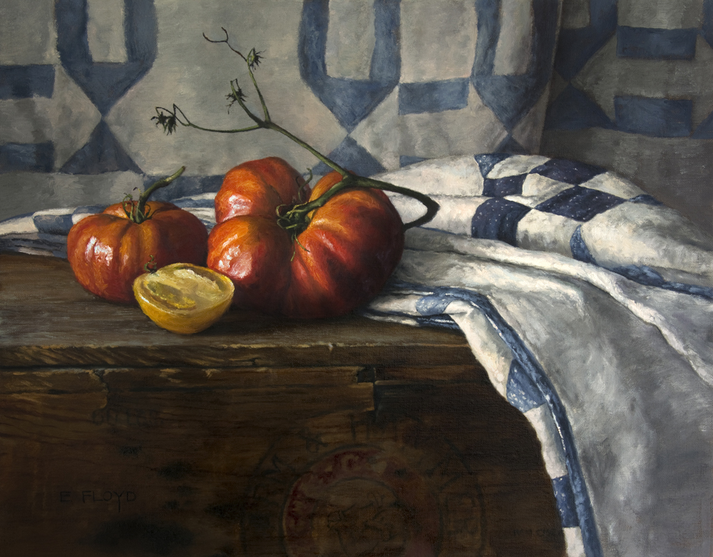 Heirloom Tomatoes by Elizabeth Floyd, 16 x 20 inches, oil on linen