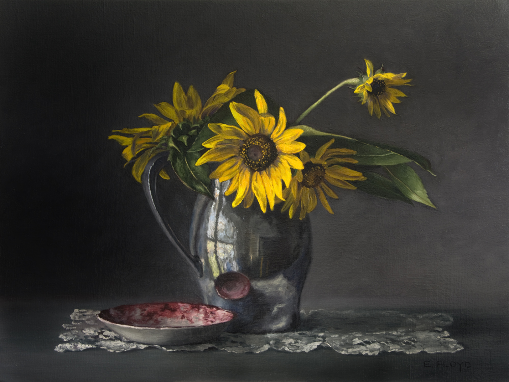 Pewter Reflections and Sunflowers by Elizabeth Floyd, 18x24 inches, oil on linen