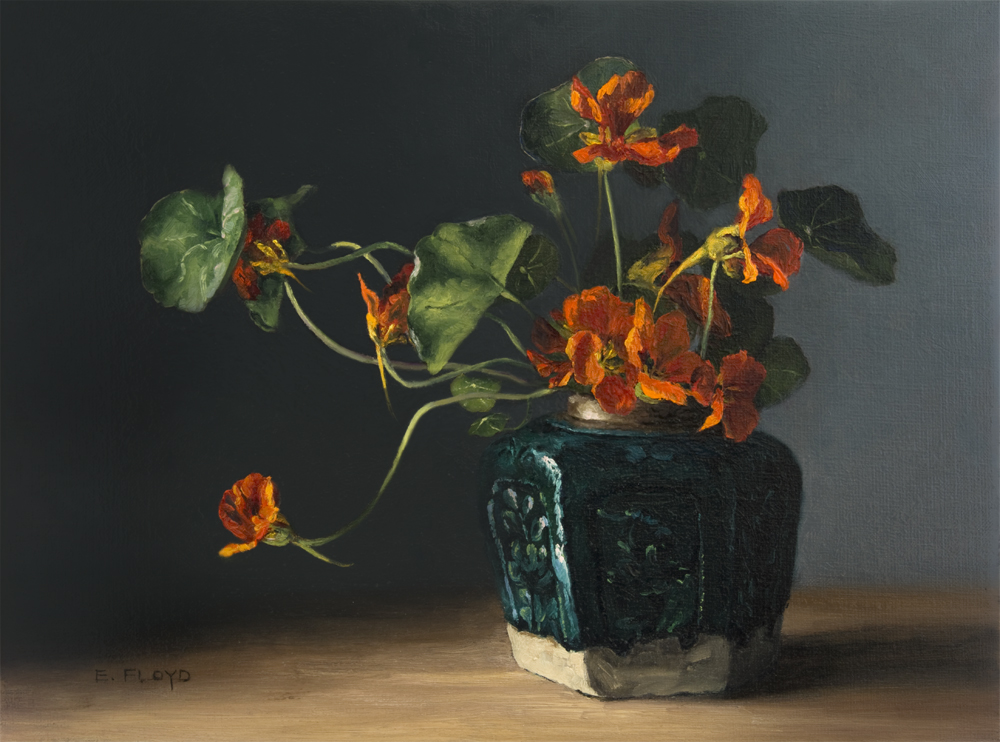 Nasturtiums in a Ginger Jar by Elizabeth Floyd, 12 x 16 inches, oil on linen