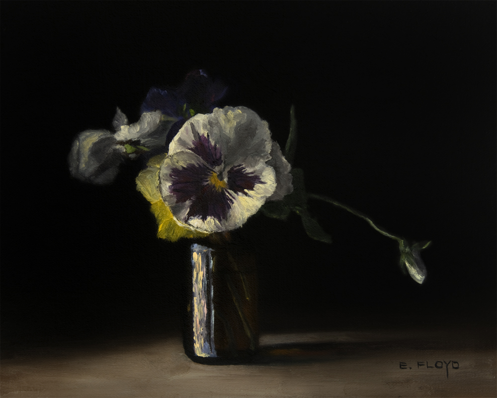 Pansies by Elizabeth Floyd, oil on linen panel, 8x10 inches