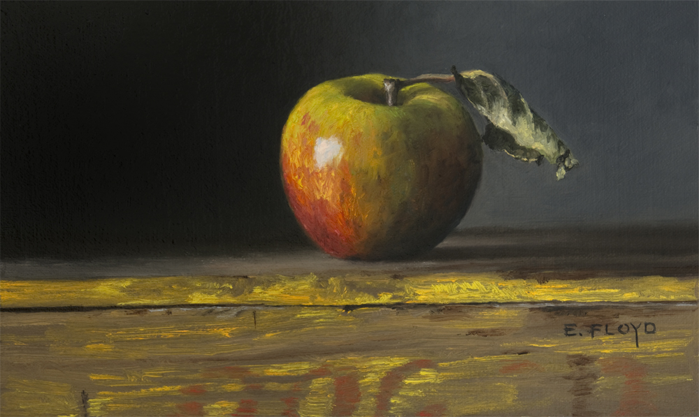 Cox Pippin Apple by Elizabeth Floyd, oil on linen panel, 6x10 inches