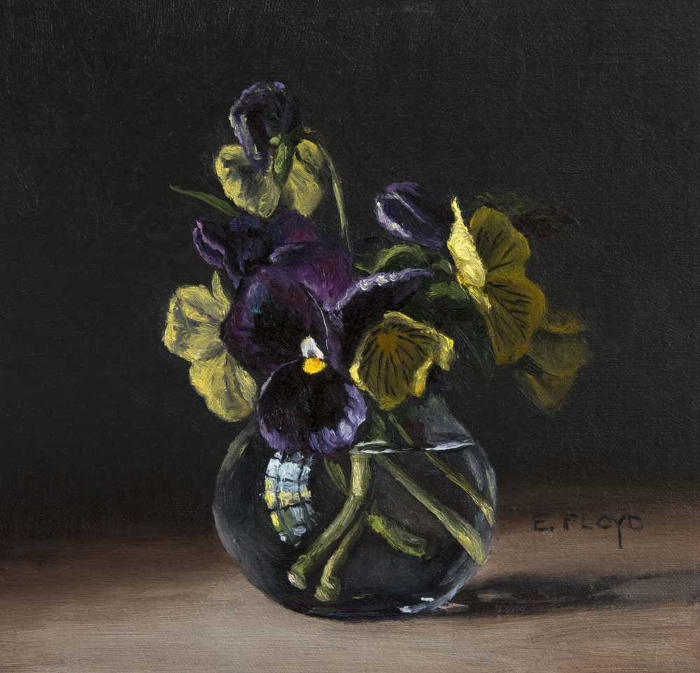 Pansies by Elizabeth Floyd, 7.5 x 8 inches, oil on linen panel