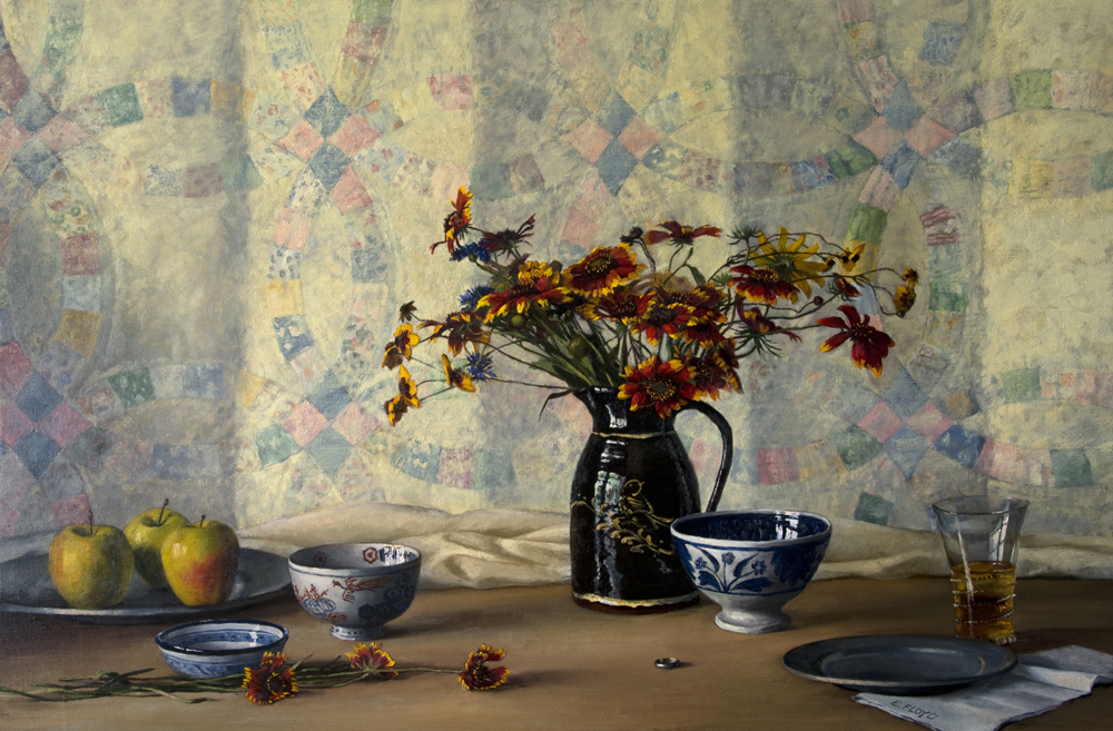 Ring, Sparrow, Pheonix by Elizabeth Floyd, 24 x 36 inches, oil on linen