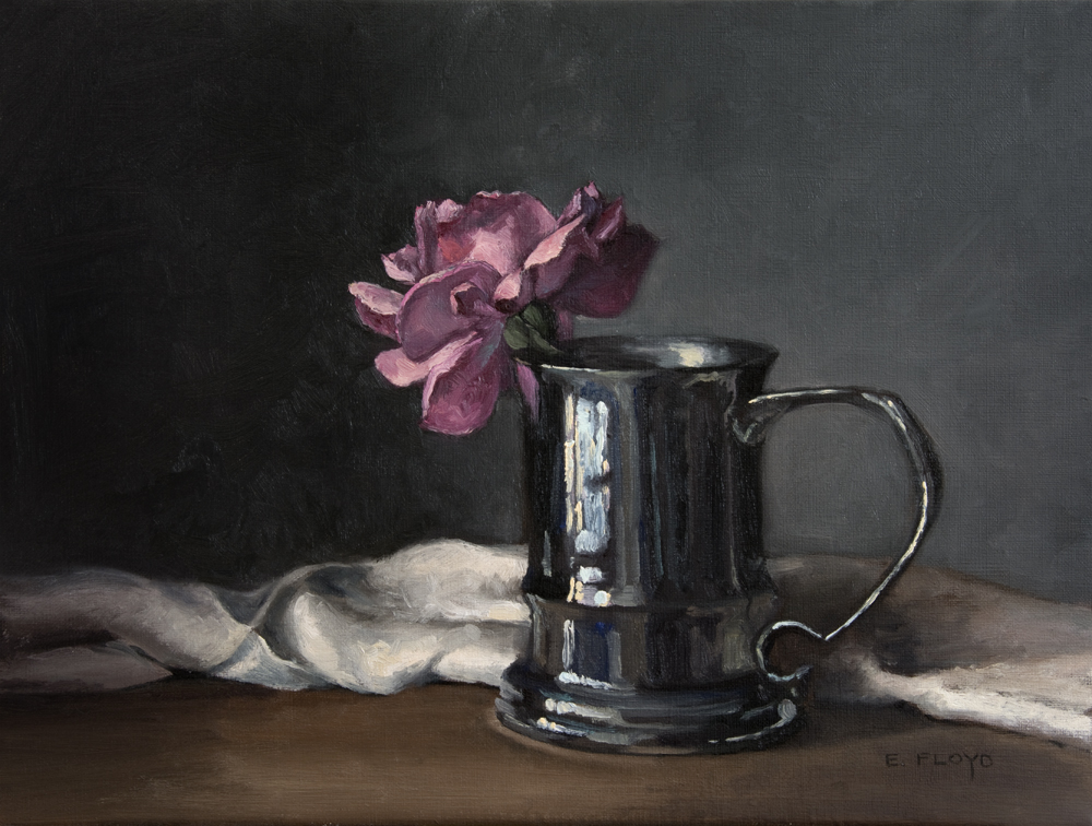 Last Rose of the Year by Elizabeth Floyd, 12 x 16 inches, oil on linen