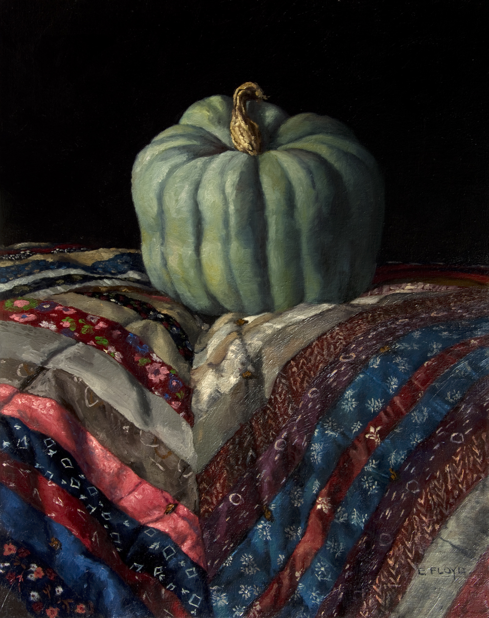 Hubbard Pumpkin by Elizabeth Floyd, oil on linen, 20 x 16 inches