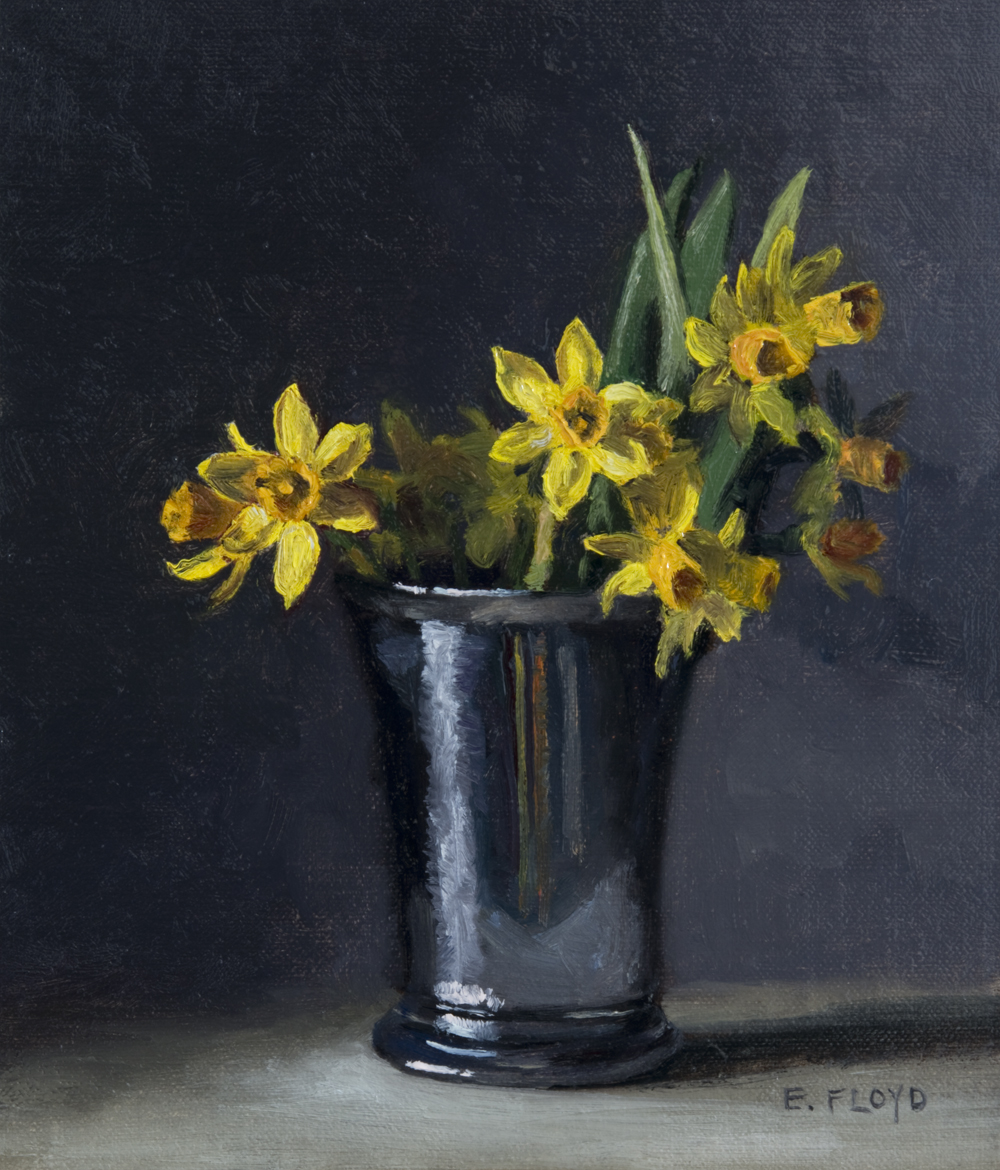 Narcissus Tete-a-Tete by Elizabeth Floyd, 8 x 7 inches, oil on linen panel