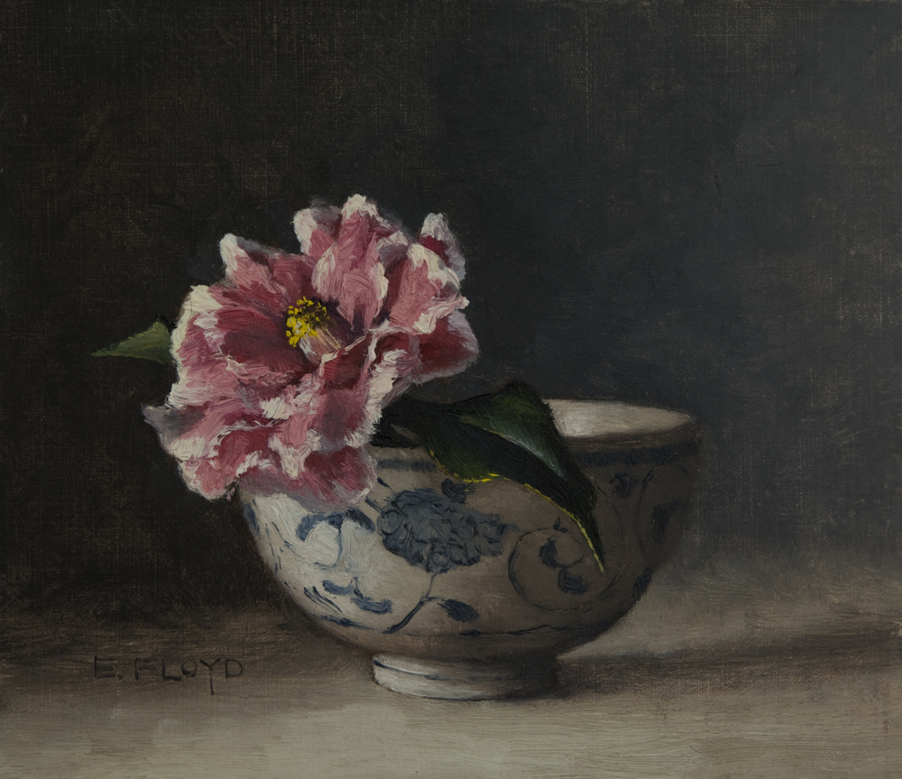 Camellia in Ming Bowl by Elizabeth Floyd, 7 x 8 inches, oil on linen panel