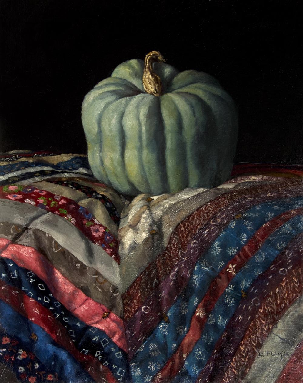 Hubbard Pumpkin by Elizabeth Floyd, oil on linen, 20 x 16 inches