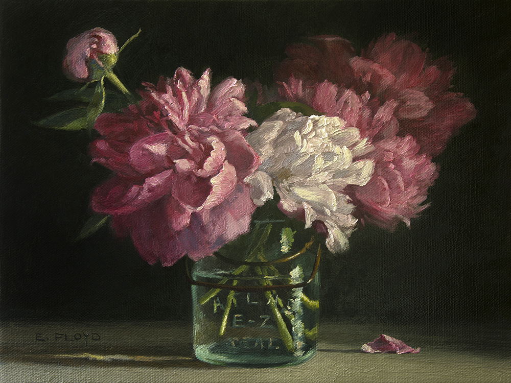Peonies in Canning Jar, oil on linen, 12 x 16 inches