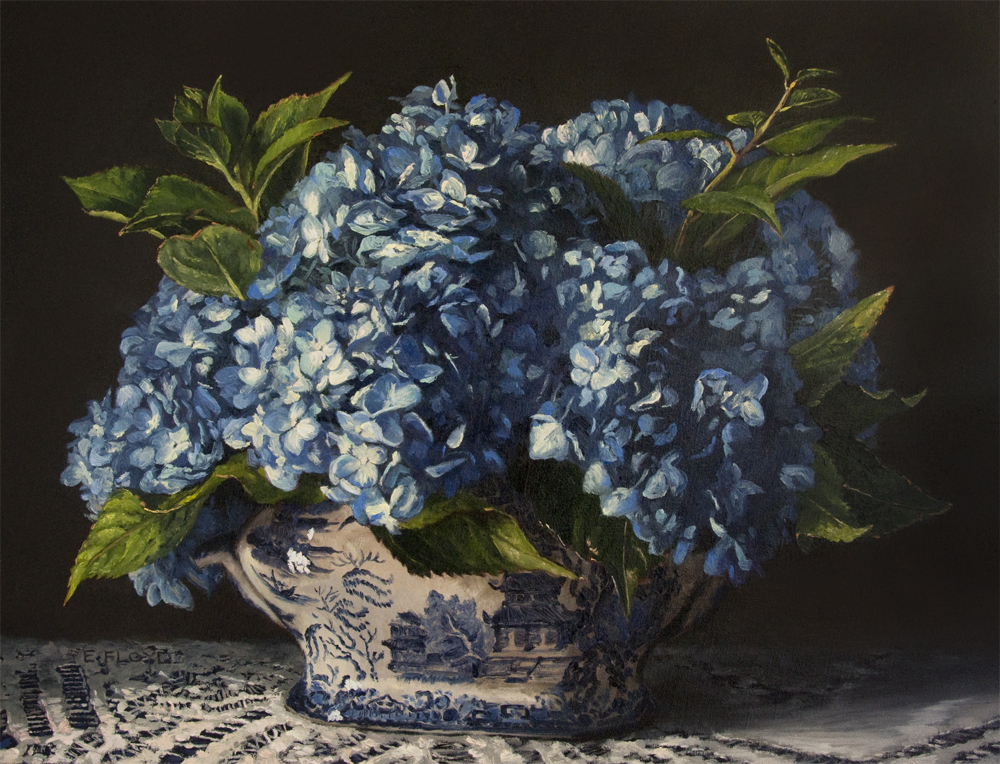 Hydrangeas in Blue Willow, oil on linen, 14 x 18 inches