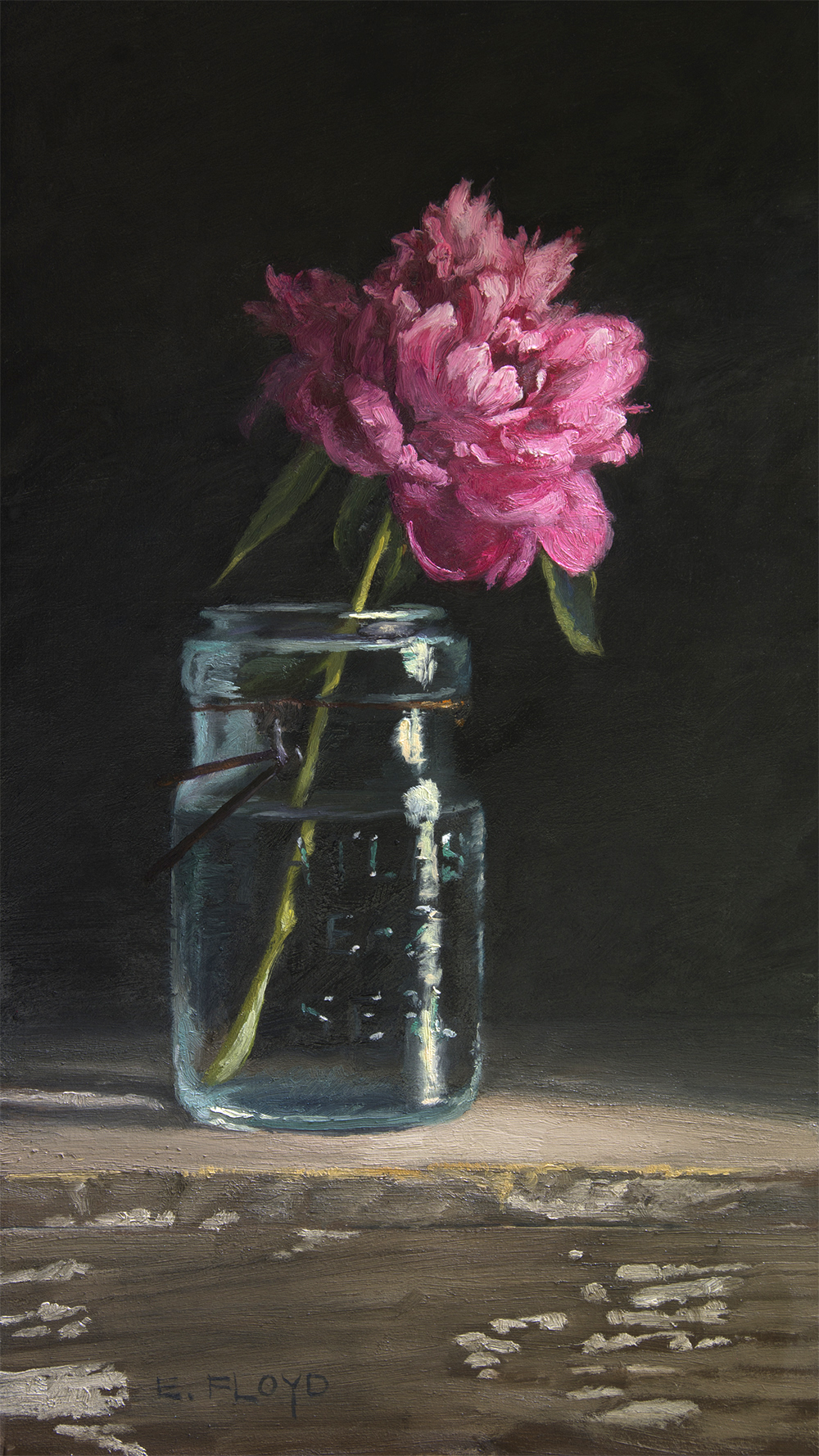 """David Harum"" Peony, 16 x 9 inches, oil on panel"