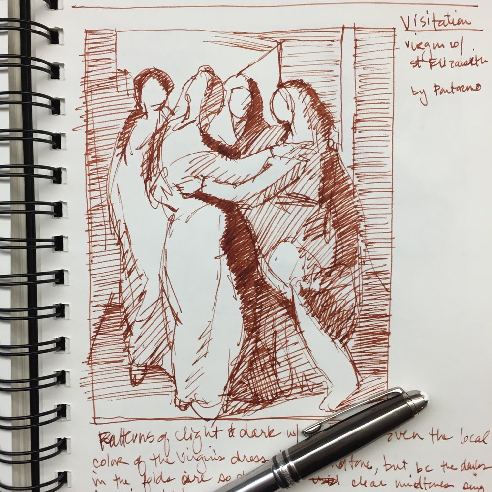 "Day 4 (4 Jan 2019): Value sketch of Pontormo's painting ""The Visitation"""