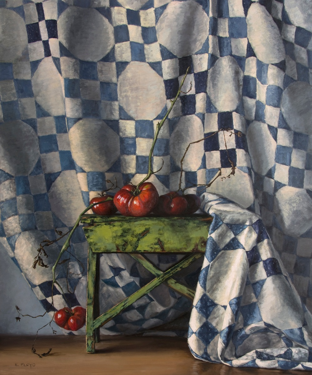 Late-Summer-Tomatoes with blue and white quilt-36x30.jpg