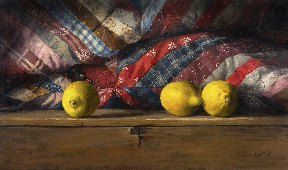three lemons with vintage quilt on wood box oil painting.jpg