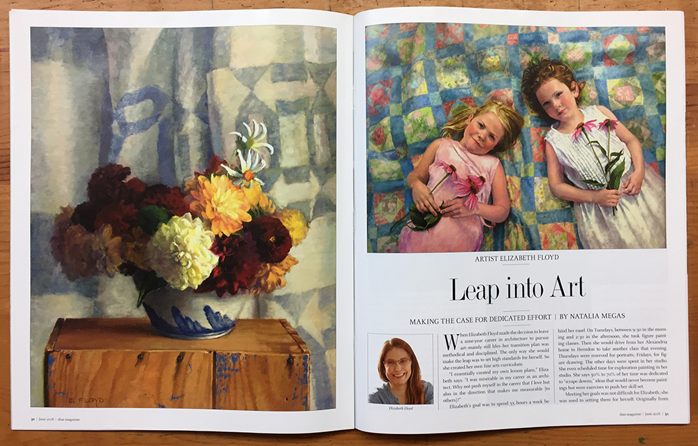 First two pages of the article in Elan Magazine, oil paintings: Dahlias with Salt-Glaze Bowl & Friendship
