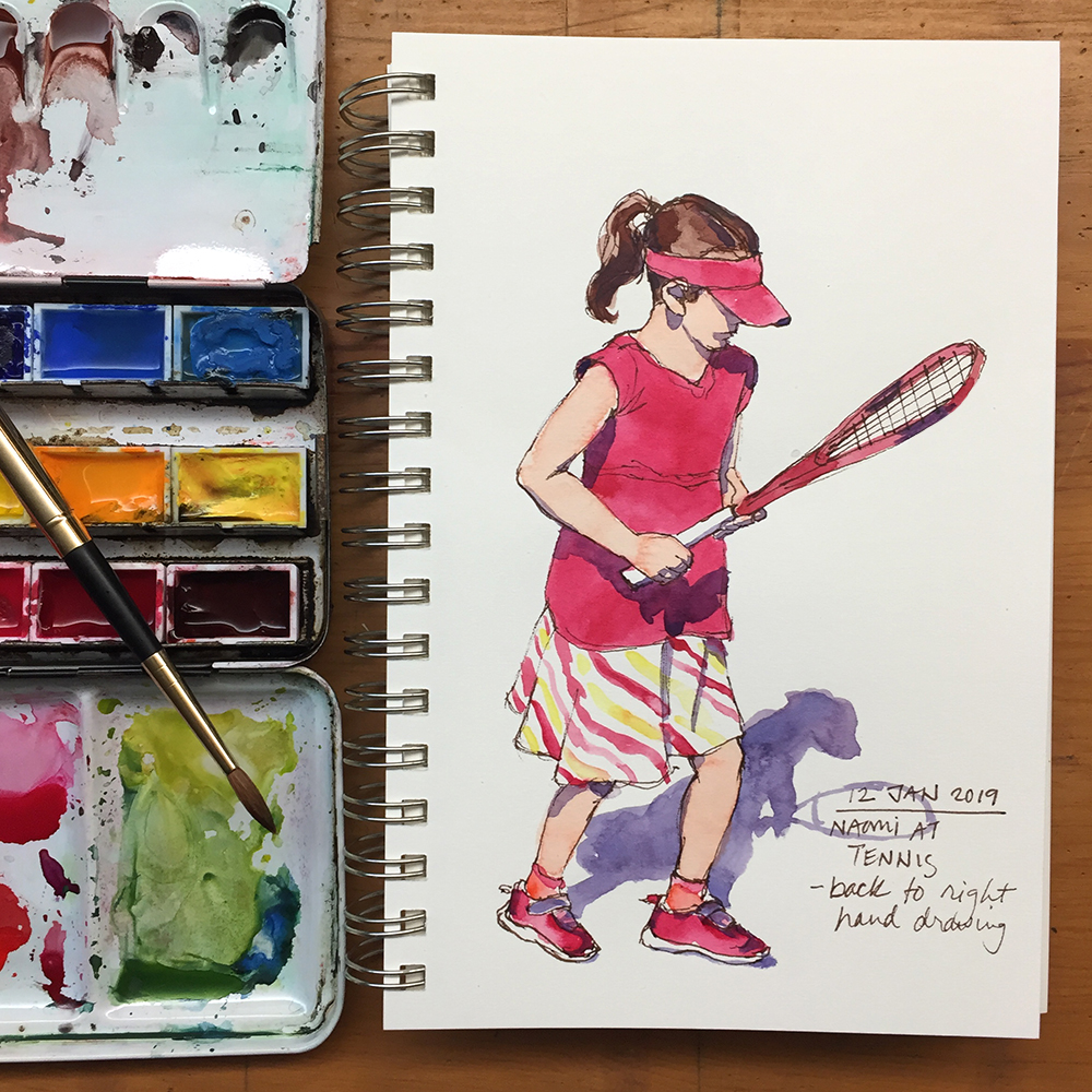 Day 12: Naomi at Tennis Practice - back to right handed drawing