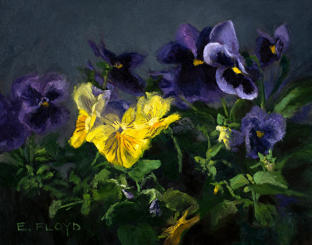 Pansies, 8x10 inches, oil on panel, studio painting - framed, AVAILABLE, for more information contact@elizabethfloyd.com