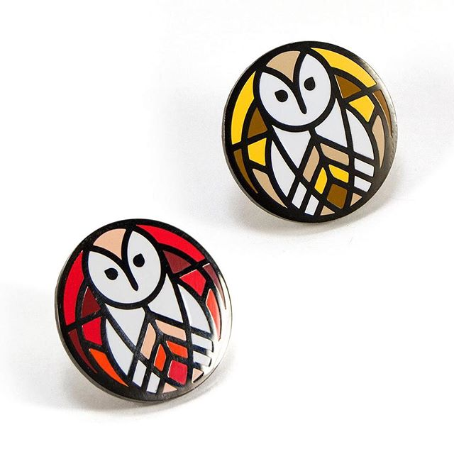 "Holy smokes we've got more pins. These are upgraded versions of the original Barn Owl pin! Now a 1"" pin in hard enamel with black nickel plating. Two tasty colorways to choose from available now on thru the website and @etsy 🦉"