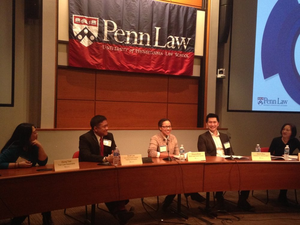 "Shauna C. Bryce as a legal careers panelist for ""Carpe JDiem: Leveraging Legal Skills in Alternative Careers"" at University of Pennsylvania School of Law. Moderated by Vivia Chen, senior columnist at The American Lawyer and the creator of The Careerist blog, with Djung Tran of Tran Law Associations; Scott Lee of the U.S. Commodity Futures Trading Commission; and David Zhou of the SDNY U.S. Attorney's Office."