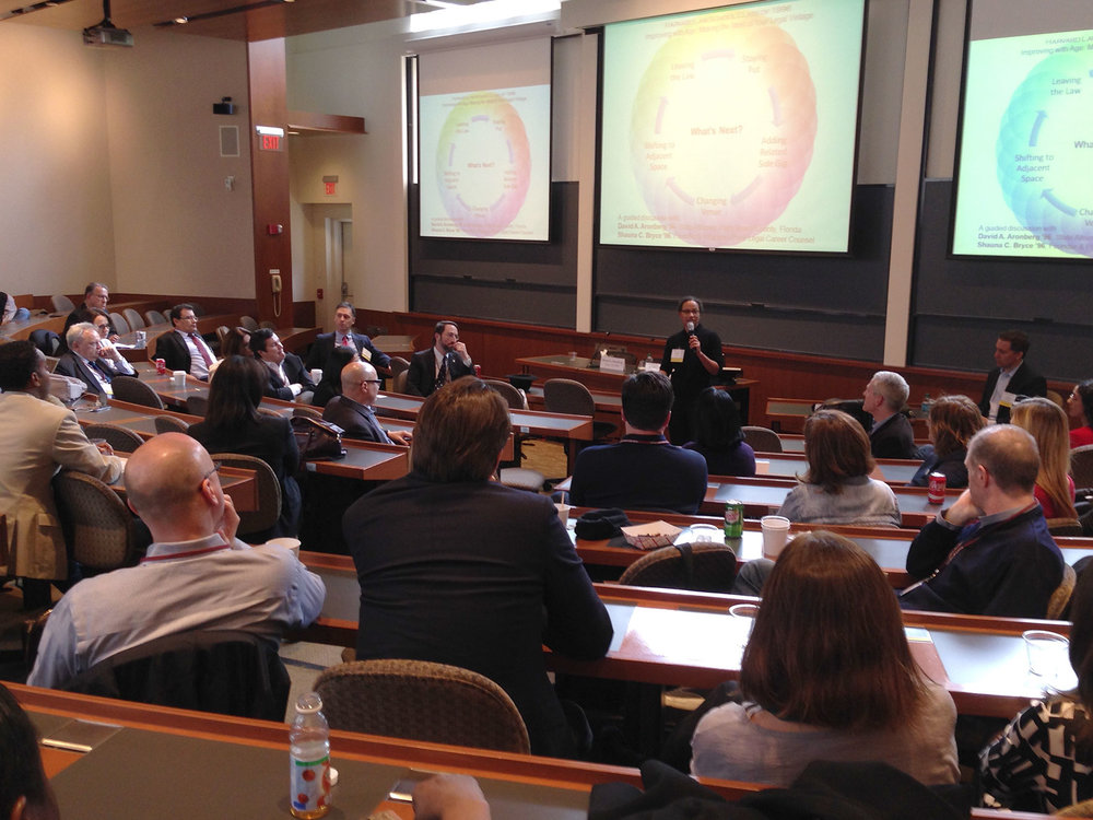 "Shauna C. Bryce speaking to Harvard Law School alumni, addressing mid-career options and decision-making in ""Improving with Age: Making the Most of Your Legal Vintage,"" at HLS, Cambridge, MA."