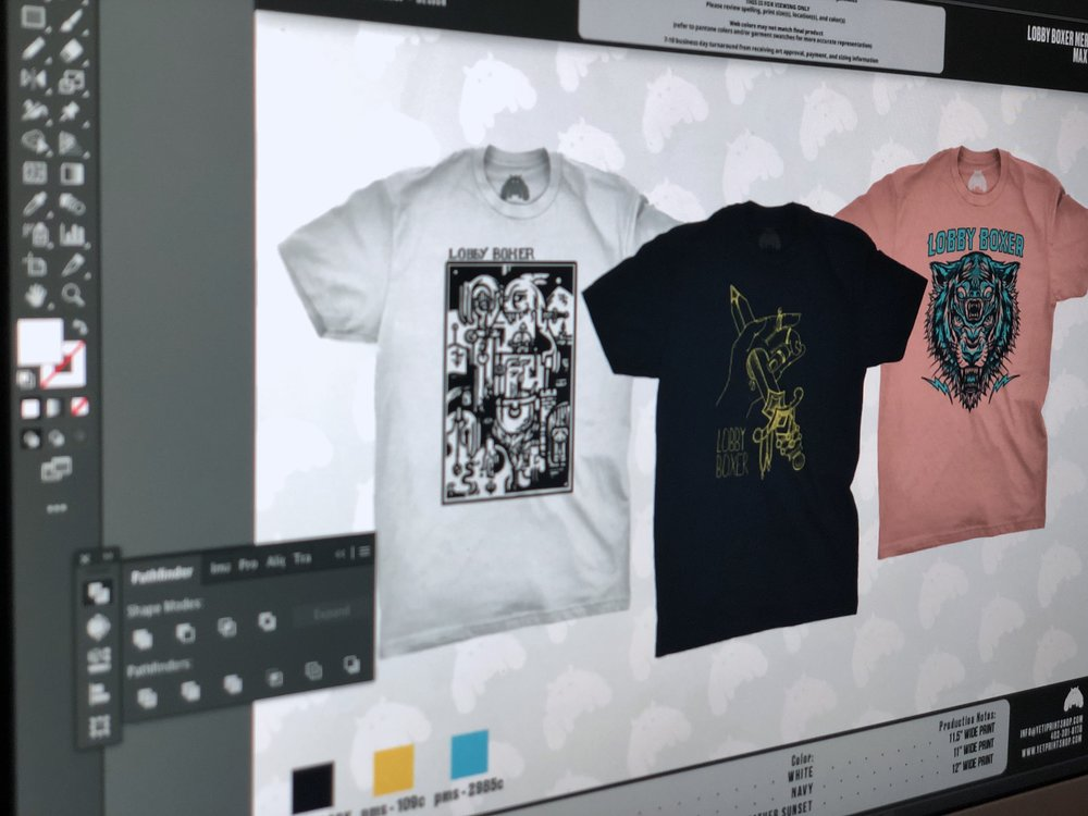MOCKUP - You love the design and now you're ready to roll. We'll draft out your design on your chosen garment options to show you exactly what it will look like when its done. In this step, you'll finalize your color choices, print locations, and quantities to get the printing process started.