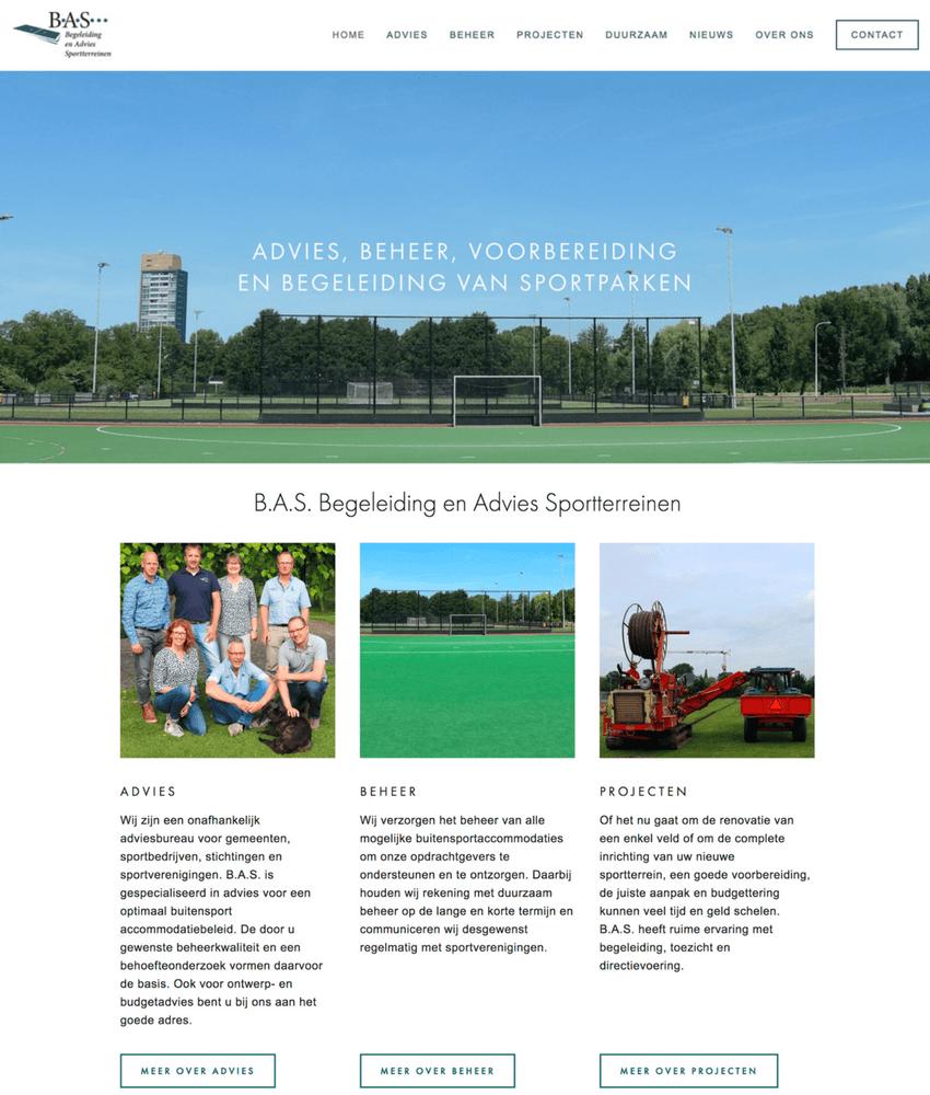 De nieuwe Squarespace homepagina van B.A.S.