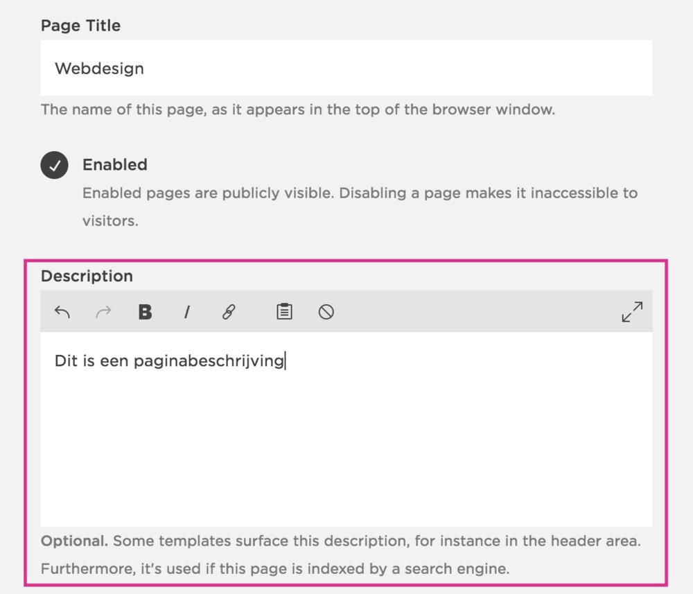 Hoe voeg je een paginabeschrijving toe in Squarespace