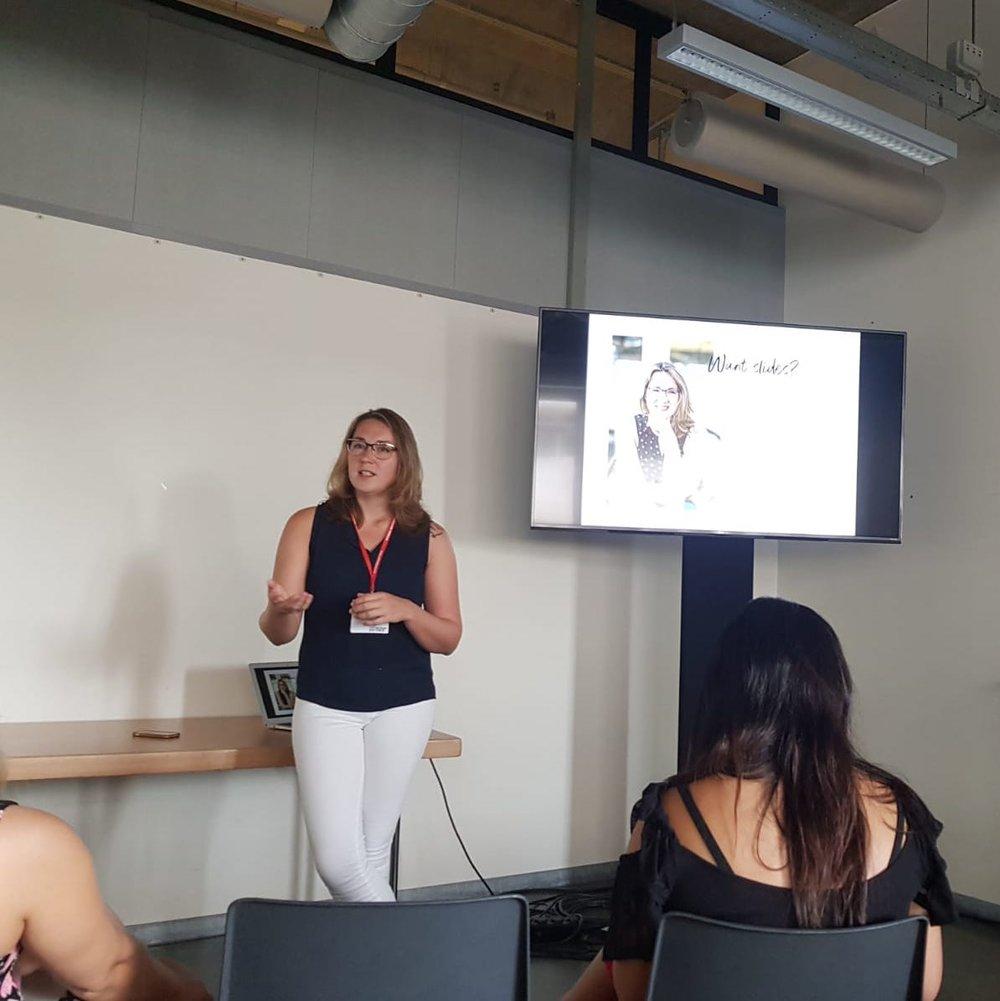 Sandra van der Lee speaking at Traverse 2018.JPG