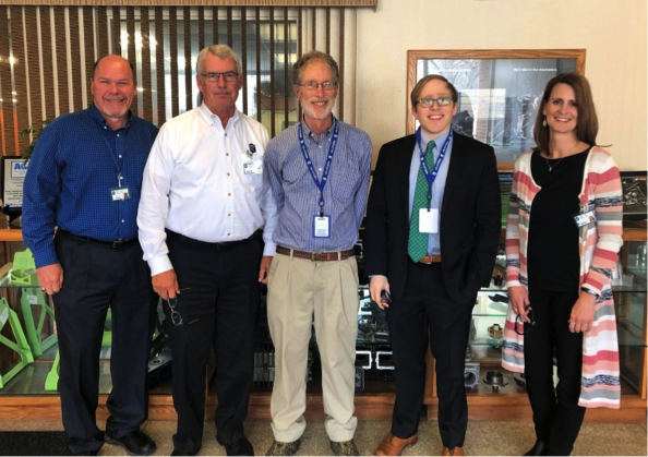 (Left to right) Paul Lillyblad, Kurt Manufacturing CFO, Steve Carlsen, Kurt Manufacturing President, Corey Rosen, National Center for Employee Ownership Founder, Drew Halunen, Senior Communications Advisor for Senator Klobuchar's office and Kelli Watson, Kurt Manufacturing CAO